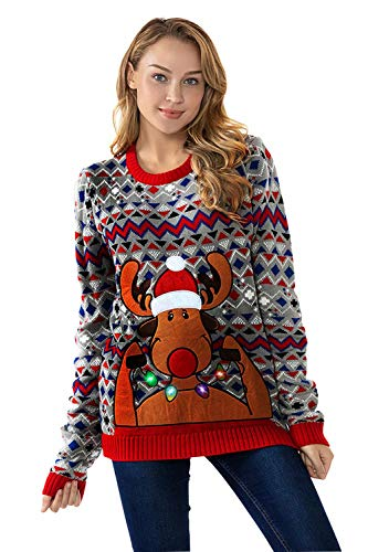 U LOOK UGLY TODAY Damen Weihnachtspullover Lustig Lange Pulli Sweater Xmas Weihnachtspulli Strickpullover im Tunika-Stil mit weihnachtlichen Motiven für Weihnachtsparty