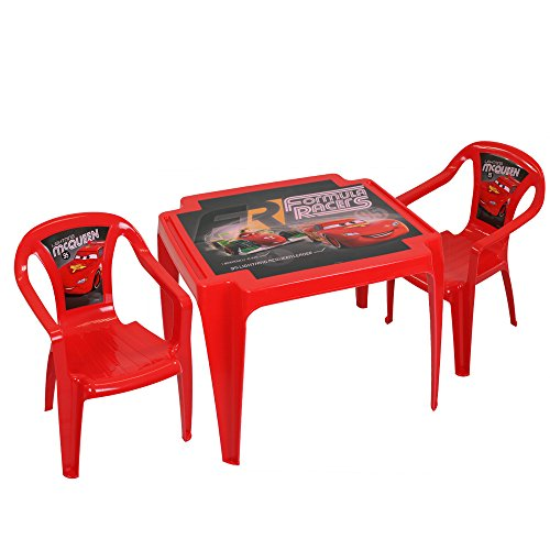 TW24 Disney Kindertisch mit 2 Stühlen - Kindersitzgruppe - Kunststoff Sitzgruppe mit Farbauswahl (Cars)