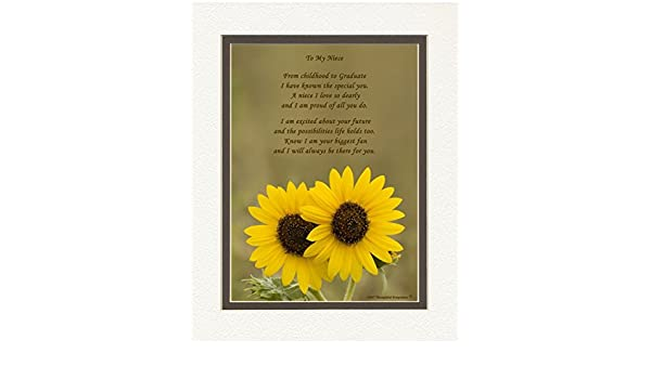 Sunflowers Photo with From Childhood to Graduate Poem Special Keepsake Graduation Gifts for Niece 8x10 Double Matted Unique College and High School Grad Gifts for Niece. Niece Graduation Gift
