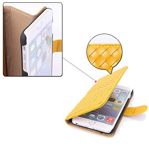 Pdncase iPhone 6 Plus Leder Tasche Case Hülle Wallet Braided Lines Stripe Pattern Schutzhülle für iPhone 6 Plus Farbe Gelb Gelb