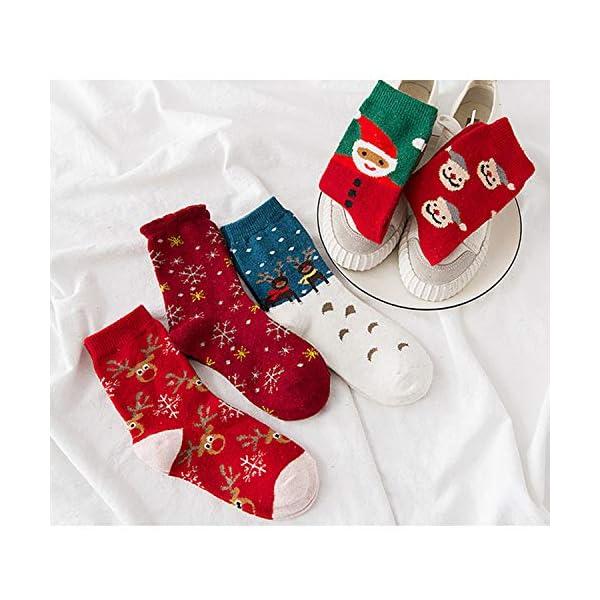 LIKERAINY Ragazze Donna Calzini Lana di Natale Caldo Inverno Confortevole Babbo Natale e Alce 5 Paia 3 spesavip