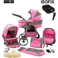 Chilly Kids Matrix Tiger 4 in 1 carrozzina passeggino combinato (seggiolino per auto, base ISOFIX, parapioggia, zanzariera, ruote girevoli, 62 colori)