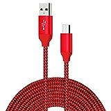 Type C câble de chargeur, USB C Charge rapide tressée en nylon de 3 mètres Data Sync Cord pour Galaxy S8 S9 Plus Note 8, Google Pixel 2 XL, Moto Z Z2, LG G7 G6 G5 V30 Huawei P20 Pro Mate 10, XiaoMi