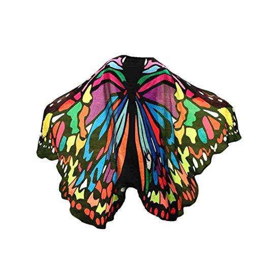 FNKDOR Fasching Kostüm Schmetterling Damen Mädchen Flügel Fee Nymphe Elfen Flügel (197*125CM, Mehrfarbig-B)