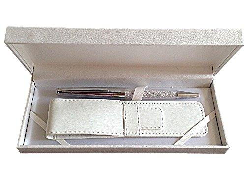 Pen maranda-ti argento cristallo swarovski inchiostro nero a sfera per le donne - leggero sfera 22g - argento caso 18 x 8 cm - copertura d'argento di lusso