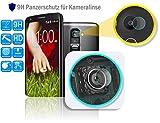 Genieforce® ✔Premium Kamera Objektiv HD+ Panzerglas für LG G2 D802 - Kameralinse Panzerfolie - Sicherheitsglas Tempered Glass Protector - 0,2mm Hartglas - 9H Ultra Hart – 2.D Round Edge + Profi Einbaus ֎