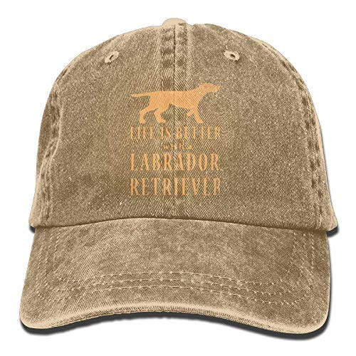 Life is Better with A Labrador Retriever Vintage Washed Dyed Cotton Twill Low Profile Adjustable Baseball Cap la Cap Twill Snap