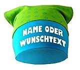 Baby KOPFTUCH Mütze (Farbe lime-royal) (Gr. 2 (68-98) mit Wunschtext oder Namen