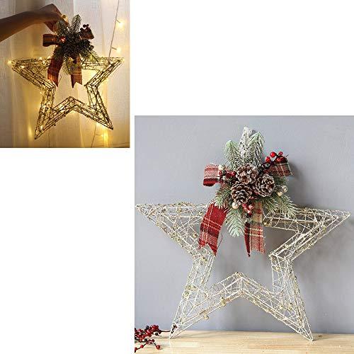 Hffan Weihnachtsdekoration Eisenkunst Wand Tür Fenster Wohnaccessoires mit Bogen Dekoration Hängende Verzierung Sterntyp Runde Herzform(B,Small-30x30cm)