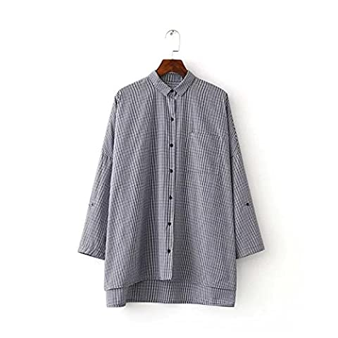 WJS-ClothingClothingAfter long shirts, Europe and America long sleeve, single pocket, lapel short, long after shirt, blouse, women's clothing,Picture color,M
