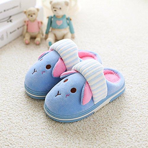 YHUJH Home Kinder Baumwolle Hausschuhe warme Winter Kinder Cartoon Home männer und Frauen niedlich Indoor Rutschfeste Babyschuhe (Color : Blue, Size : 210195CM)