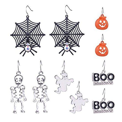 Zhenhui tema 5paia ORECCHINI pendenti Spider Web scheletro zucca di Halloween Boo-Set di Orecchini pendenti