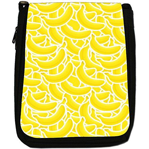 Graphical frutta-Borsa a tracolla in tela, colore: nero, taglia: M Nero (Banana Fruit)