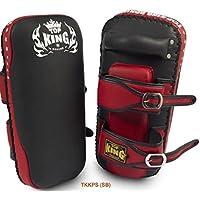 MMABLAST Top King Kicking Pads Super (Curved) TKKPS (SB) Negro/Rojo, S, Negro/Rojo