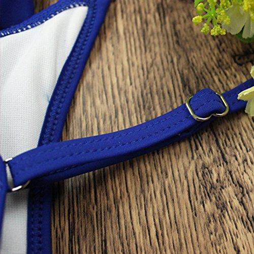 Increspato Grandi Costume Intero Balze Costume Da Bagno Pezzo Delle Donne Monokini Blu