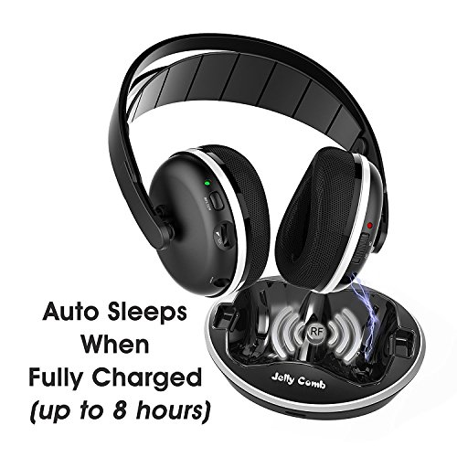 TV Funk Kopfhörer, Jelly Comb Funkkopfhörer mit Lautstärke-Regler, Multifunktions-Ladestation für TV und alle Ihre Multimedia-Gerät - 2