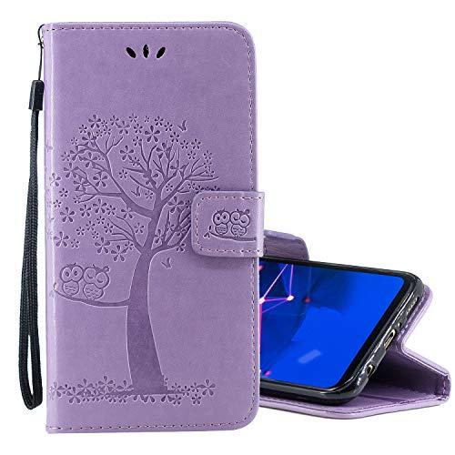Nadoli Flip Handyhülle für Huawei P Smart Plus 2019,Schutzhülle Pu Leder Lustig Geprägt Baum Eule Magnetverschluss Wallet Brieftasche Lederhülle Etui mit Standfunktion für Huawei P Smart Plus 2019