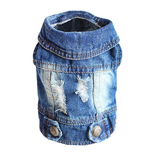 Sild Coole Vintage Washed Denim Jacke Jumpsuit Blau Jean Kleidung für kleine Haustiere Hund Katze/6Styles (Cowboy Up Kleidung Dress)