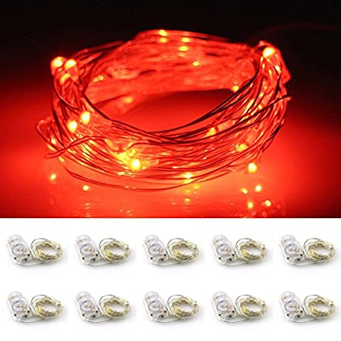 LXINGS Battery Operated Mini String Lights 10 Sets of 2M/20LEDs Silver Wire Starry Rope Fairy Bottle Lights For Christmas Halloween Holiday Party Costume Wedding Centerpiece Decoration(Red)