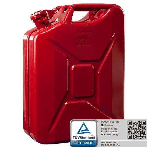 Oxid7® Benzinkanister Kraftstoffkanister Metall 20 Liter Rot mit UN-Zulassung - TÜV Rheinland Zertifiziert - Bauart geprüft - für Benzin und Diesel