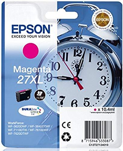Epson 27 Serie Sveglia, Cartuccia Originale Getto d'Inchiostro DURABrite Ultra, Formato XL, Magenta, con Amazon Dash Replenishment Ready