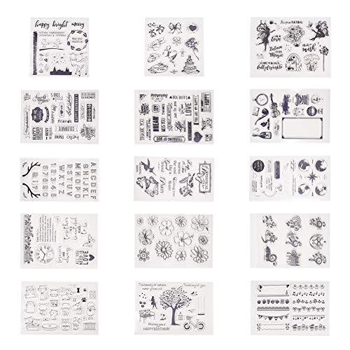 PandaHall Elite 15 Blätter Sortiertes Muster Silikon Transparent Klar Silikon Stempel/Siegelblätter Für DIY Scrapbooking/Fotoalbum Dekorative -