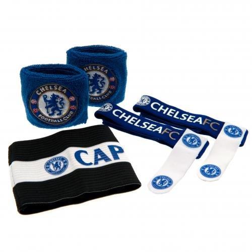 Chelsea-zubehör-set (Chelsea F.C. Zubehör set aus Zubehör set aus 2 x 1 x WRISTBANDS- captains arm band 2 x Socke TIES- auf einem Träger Karten Offizielles FußBall-Merchandising-Produkt)
