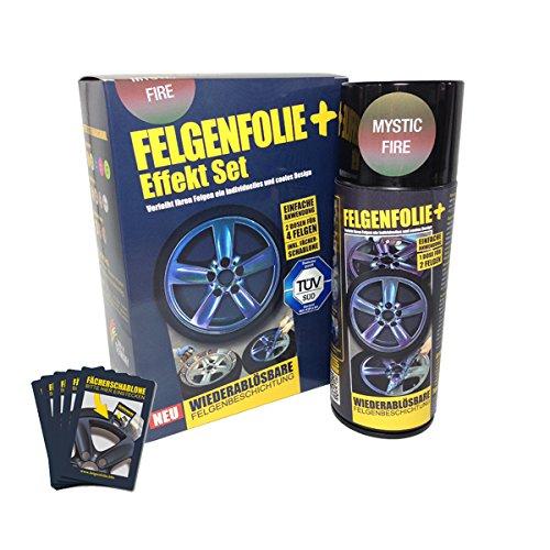 Preisvergleich Produktbild mibenco 71000006 FELGENFOLIE+ Effekt Set, 2 x 400 ml, Mystic Fire - Flüssiggummi Spray/Sprühfolie - Neue Chamäleon-Flip-Flop-Farbe und Schutz zum Felgen lackieren