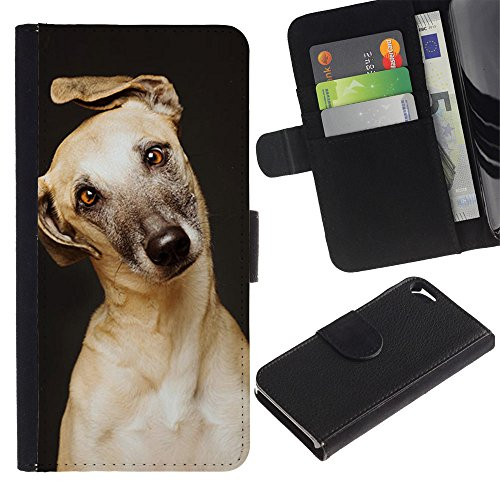 TaiTech / Wallet Flip Custodia in pelle - Retriever Mutt Golden Greyhound Dog - Apple (Greyhound Dog Stampa)