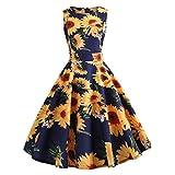 VEMOW Elegante Damen Frauen Vintage Druck Bodycon Sleeveless Beiläufige Abendgesellschaft Prom Swing Kleid Retro Rock Cocktailkleid Reißverschluss Faltenrock (Gelb, EU-40/CN-M)