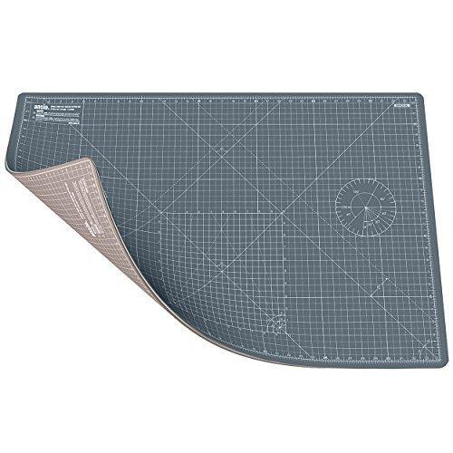 ANSIO Schneidematte Selbstheilende A1 Doppelseitige 5 Schichten sassend für Kunst, Nähen - Imperial/Metric 34 x 22.5 Zoll / 89 x 59 cm-Braun/Grau -