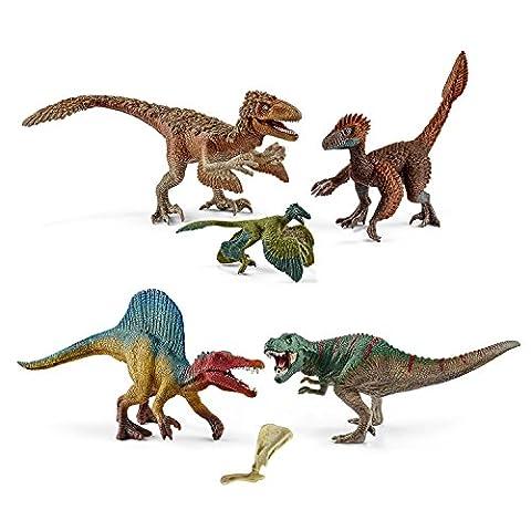 Schleich Dinosaurs Spiel-Set Neuheiten 2017 - Spinosaurus und T-Rex 41455 und Gefiederte Raptoren 42347 mit Knochen