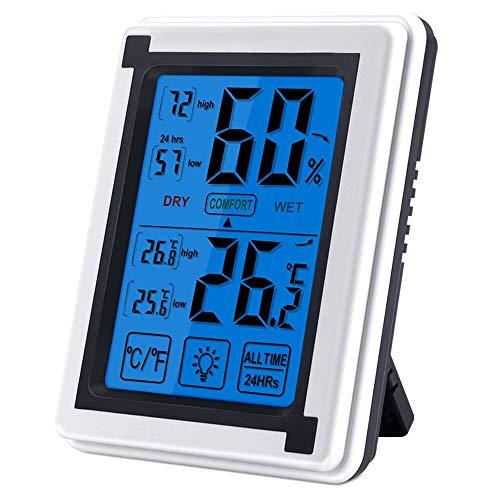 Nasharia Thermomètre hygromètre numérique d'intérieur - Bleu rétroéclairage, détecteur de température/d'humidité à écran Tactile LCD (Alimenté par Batterie)