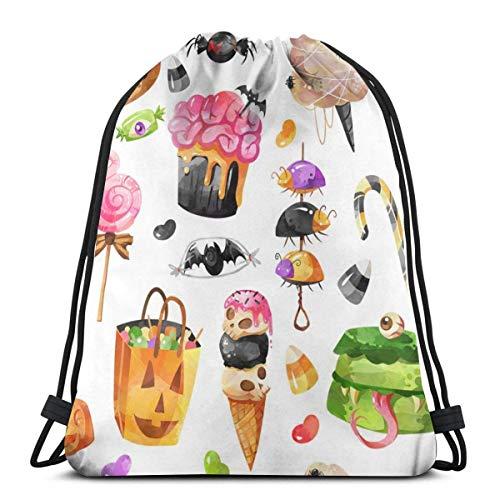 8 Creepy Treats Halloween White Drawstring Backpack Bag Gym Sack Sport Beach Daypack for Girls Men & Women Teen Dance Bag Cycling Hiking Team Training 17 X 14 Inch