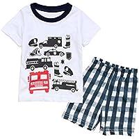 Blaward Neonato Bimbo Vestiti Set Cartone Animato Manica Corta Camicie  T-Shirt con Automobili Tops f9de0e9ab9d7