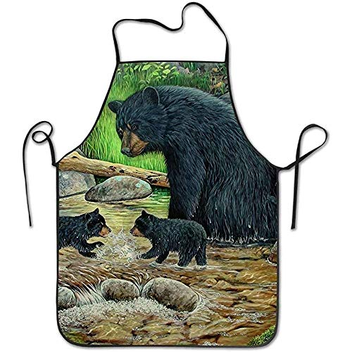 ouyjian Cute Aprons Black Bears Painting Deluxe Cute Aprons Chef Kitchen Cooking and Men & Women Baking Bib BBQ Apron -