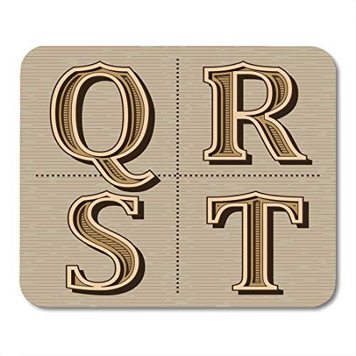 Mouse pad Whiskey Label Western Alphabet Design Letters Vintage Q R Typeface Calligraphy Office Supplies mouses pad