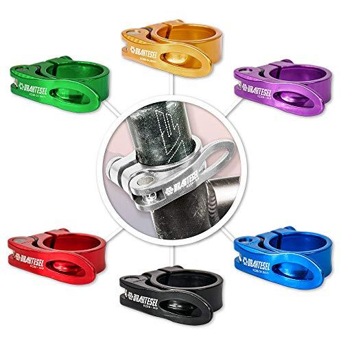 Drahtesel Fahrrad Schnellspanner, Sattelstütze, Sattel-klemme, Sattel-schelle, Klemmring, Sattelstützenklemme, Schnellverschluss in 28,6mm, 30,2mm, 31,8mm, 34,9mm (Silber, 31,8mm)