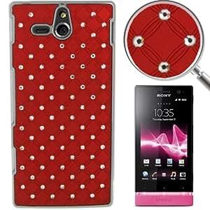Luxury Bling Diamond Plating Skinning Plastic Case for Sony Xperia U / ST25i (Red)