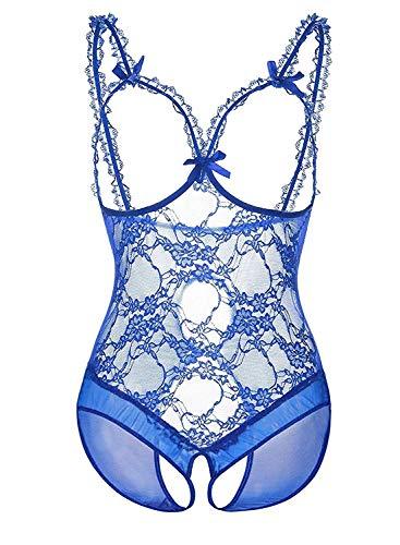 n Sexy Dessous Teddy Geschirre Tiefem V Halter Bodysuit Spaß Dessous Pyjamas Sexy Charme Perspektive Nachthemd (Blau S) ()