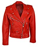 Brando' Ladies Women Red Classic Biker Motorcycle Motorbike Hide Leather Jacket