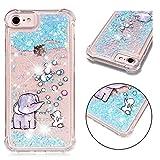 E-Mandala iPhone 6S Plus 6 Plus Hülle Glitzer Flüssig Liquid Glitter Case Cover Handyhülle Schutzhülle Transparent mit Muster Durchsichtig Tasche Silikon - Blasen-Elefant