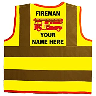 Fireman PERSONALISED WITH NAME Red Engine Baby/Children/Kids Hi Vis Safety Jacket/Vest Size 4-6 Years Yellow Optional Personalised On Front