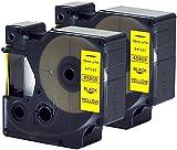 2 Kassetten D1 45808 schwarz auf gelb 19mm x 7m Schriftband kompatibel für DYMO LabelManager LM 100, 110, 120P, 150, 155, 160, 200, 210D, 220P, 260, 260D, 280, 300, 350, 350D, 360D, 400, 420P, 450, 450D, 500TS, PC, PC2, PnP, PnP Wireless, LabelPoint LP 100, 150, 200, 250, 300, 350, LabelWriter LW 400 Duo, 450 Duo Beschriftungsgerät