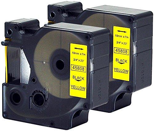 2 Kassetten D1 45808 schwarz auf gelb 19mm x 7m Schriftband kompatibel für DYMO LabelManager LM 100 150 160 200 210D 260 280 300 350 350D 360D 400 420P 450 500TS PC PC2 PnP LabelWriter LW 400 450 Duo -
