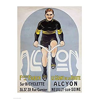 Poster depicting Francois Faber on his Alcyon bicycle Fine Art Print (45.72 x 60.96 cm)