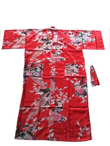 JTC Femme Robe Longue de Nuit Kimono Motif de Paon avec Ceinture -4 Couleurs Rouge