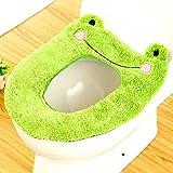 Coprisedile WC bagno più caldo peluche Soft Round igienici lavabile sedile coperchio copertura Pads (rana)