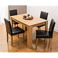 KOSY KOALA Modern wooden oak effect dining Table and 4 Black Faux Leather high back Chairs options for benches or chairs dining set (table &4 chairs)