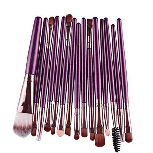 Internet 15 pcs/ensembles de fard à paupières Fondation sourcils lèvres brosse maquillage pinceaux outil Violet